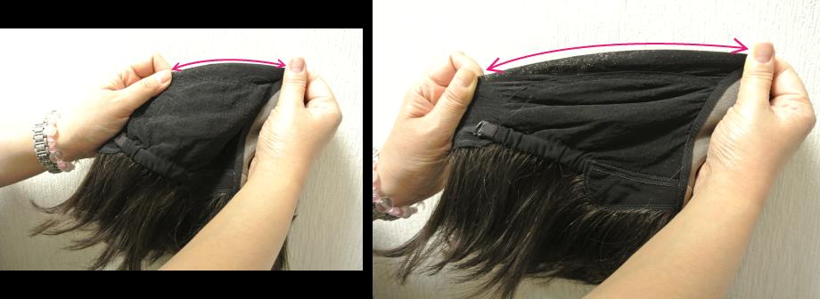 さらに伸縮性ソフトネットで頭部を締め付けない
